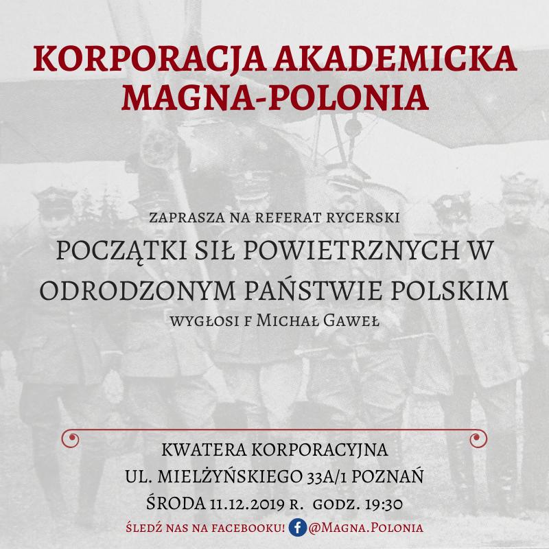 """Prelekcja pt. ,,Początki sił powietrznych w odrodzonym Państwie Polskim"""""""