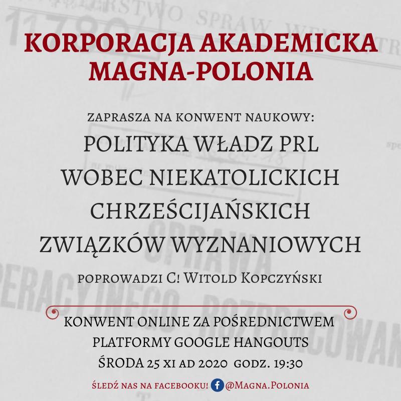 """Konwent naukowy pt. """"Polityka władz PRL wobec niekatolickich chrześcijańskich związków wyznaniowych"""""""