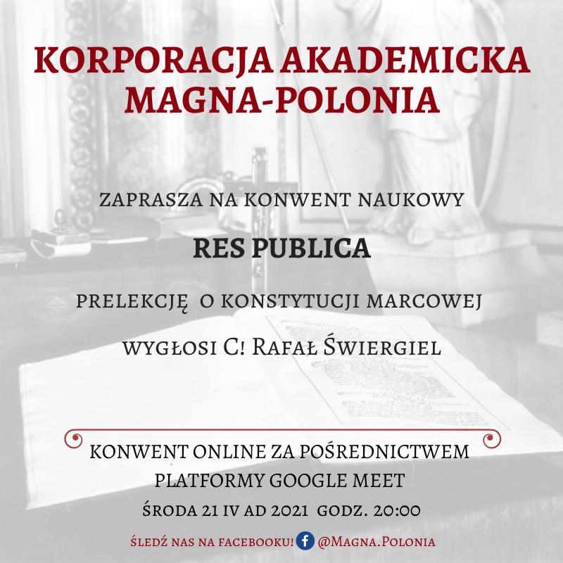 """Konwent naukowy pt. """"Res Publica"""" – prelekcja o konstytucji marcowej"""
